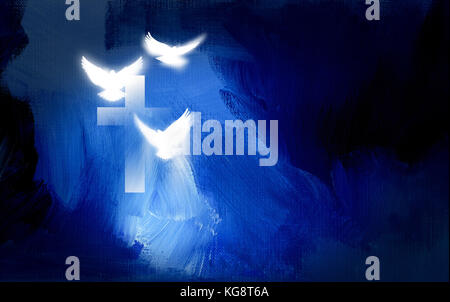 Conceptual graphic of Christian cross and three white doves, symbolizing Jesus Christ's sacrificial work of salvation. - Stock Photo