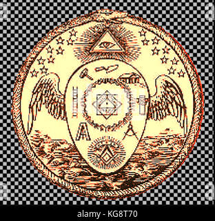 Magic - Mysticism - Golden seal of the Order of  Memphis-Misraism showing masonic symbols, the all seeing eye and - Stock Photo