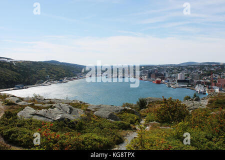 Panoramic view of St. John's Harbour, and the surrounding city, from the hiking trail on Signal Hill, St. John's, - Stock Photo