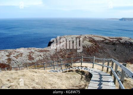 Wooden stairway on the Northhead Trail, Leading down from the top of Signal Hill, St. John's, Newfoundland - Stock Photo