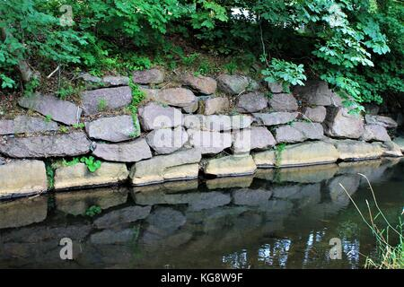 Stone retaining wall alongside the river bank. reflection of wall and trees in the calm water of the river. - Stock Photo