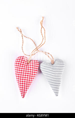 Two handmade hearts, top view. - Stock Photo
