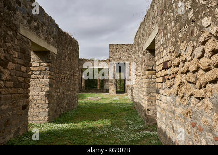 Pompeii ruins exhibited after archaeological excavations.  Houses and streets. - Stock Photo