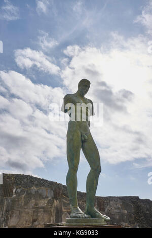 Pompeii ruins exhibited after archaeological excavations. Modern sculptures by the sculptor Igor Mitoraj. Icarus - Stock Photo