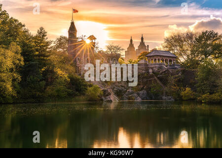 Belvedere Castle at sunset. Belvedere Castle is a folly built in the late 19th century in Central Park, Manhattan, New York City