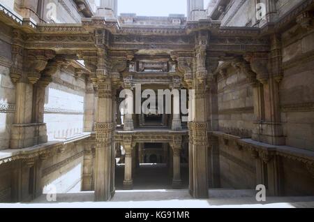Inner view of Adalaj Ni Vav (Stepwell), or Rudabai Stepwell. Built in 1498  Five stories deep. Ahmedabad, Gujarat, - Stock Photo