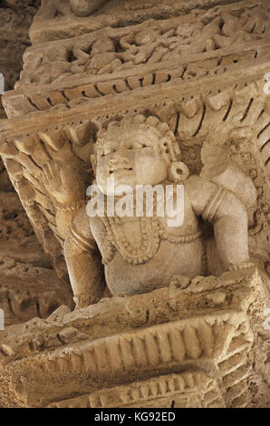 Carving details on the inner wall of the Sun Temple. Built in 1026 - 27 AD during the reign of Bhima I of the Chaulukya - Stock Photo