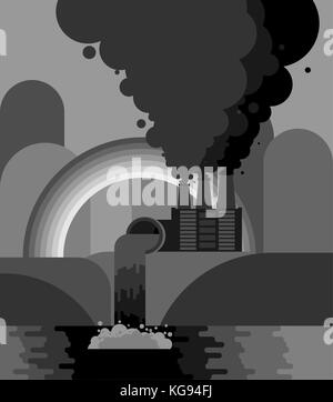 Industrial landscape. Plant emissions into river. Environmental pollution. Black smoke from pipes of factory. Gray - Stock Photo