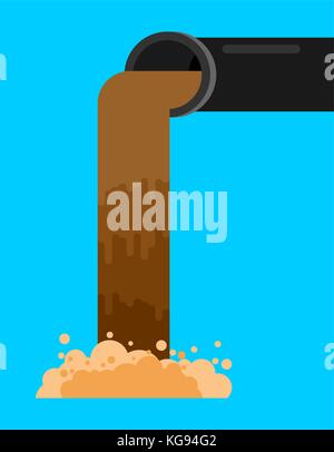 Industrial waste from pipe. Sewage Flow. Environmental pollution. Ecological catastrophy. Vector illustration - Stock Photo