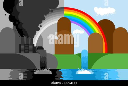 Industrial landscape. Plant emissions into river. Environmental pollution. Black smoke from pipes of factory. Ecological - Stock Photo