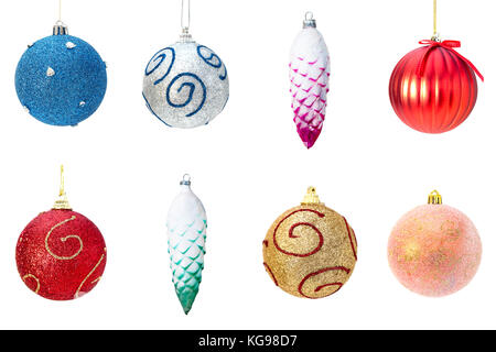 Collage of Christmas decoration toys pine cons and balls. Isolated on white background - Stock Photo
