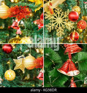 Collage of Christmas Tree Decoration with toys new year - Stock Photo