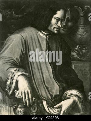 Portrait of Lorenzo de' Medici said Il Magnifico, painting by Giorgio Vasari - Stock Photo