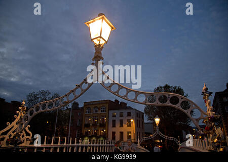 Halfpenny Bridge, Dublin, Ireland - Stock Photo