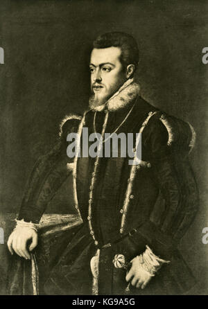 Portrait of Philip II king of Spain, painting by Titian - Stock Photo