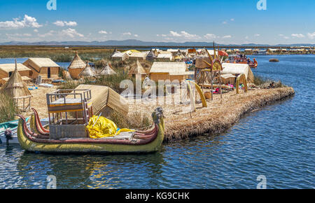 One of the Uros Islands in Lake Titikaka - Stock Photo