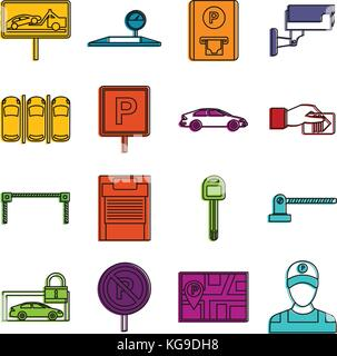 Car parking icons doodle set - Stock Photo