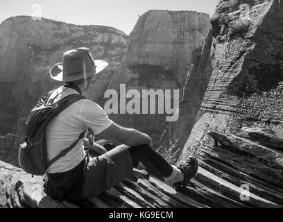 Guy Backpacking in Grand Canyon - Stock Photo