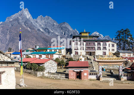Day 5 of EBC Trek:  City of Tengboche - Stock Photo