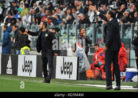 Turin, Italy. 5th November, 2017. all coachs during the Serie A football match between Juventus FC and Benevento - Stock Photo