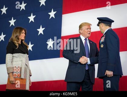 Fussa, Japan. 05th Nov, 2017. U.S President Donald Trump greets Lt. Gen. Jerry Martinez, U.S. Forces Japan and 5th - Stock Photo