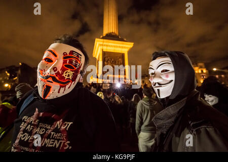 London, UK. 5th Nov, 2017. A few hundred anti-government protesters and other activists gather in Trafalgar Square - Stock Photo