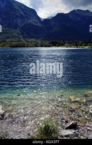 ripples on Lake Bohinj in Triglav National Park - Stock Photo