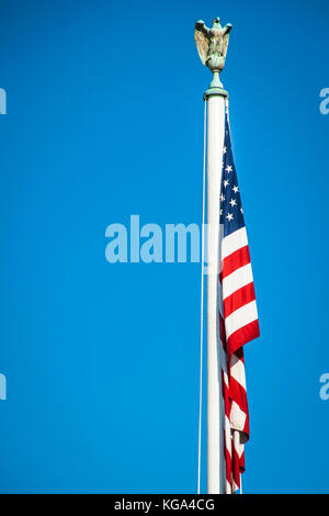 American golden eagle sculture over US national flag - Stock Photo