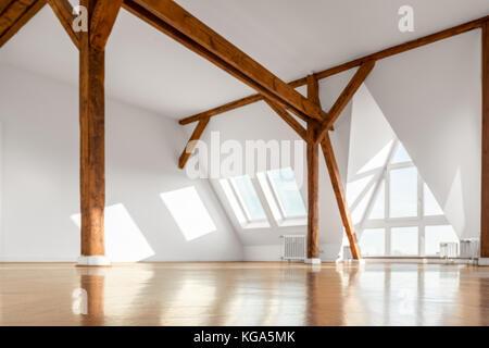 empty penthouse apartment room interior - Stock Photo
