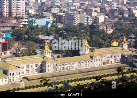 Central Train Station, Yangon, Myanmar (Burma), Southeast Asia - Stock Photo