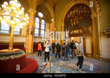 BUDAPEST - SEPTEMBER 17, 2017: The interior of Hungarian Parliament Building, also known as the Parliament of Budapest - Stock Photo