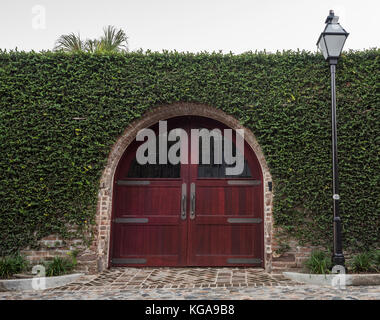 An ivy covered wall surrounding red wooden doors in Charleston, SC. - Stock Photo