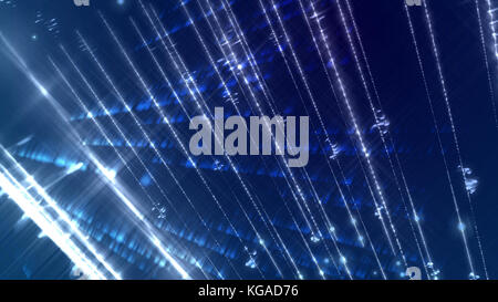 An exciting 3d rendering of an abstract holographic blue background with numerous sparkling white rays in a horizontal - Stock Photo