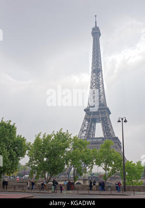 Paris; France-May 05; 2017: View of the Eiffel Tower from  View of the Eiffel Tower from  De Varsovie square.On - Stock Photo