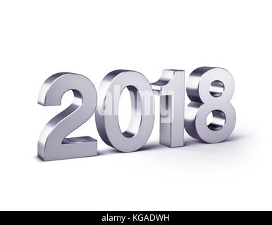 New Year 2018 type, colored in silver and isolated on white - 3D illustration - Stock Photo