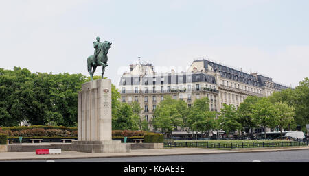 Paris; France-May 05; 2017: Equestrian statue of Marshal Foch in Trocadero Square Stock Photo