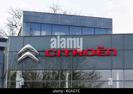 PRAGUE, CZECH REPUBLIC - NOVEMBER 5: Citroen car company company logo in front of dealership building on November - Stock Photo