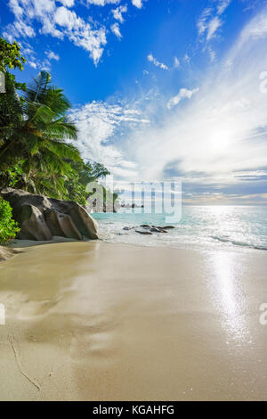 sunny day on paradise beach with big granite rocks, turquoise water, white sand and palm trees at anse georgette,praslin - Stock Photo