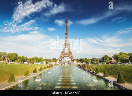 The Eiffel Tower in Paris, France, on a sunny day. Spectacular view from the Trocadero gardens. Colourful travel - Stock Photo