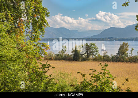 View of the Alps from the Herreninsel in the Chiemsee - Stock Photo