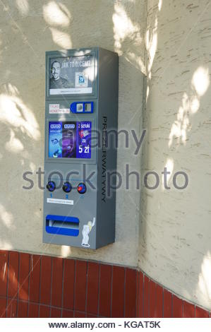 POZNAN, POLAND - AUGUST 25, 2013: Condom machine on a wall - Stock Photo
