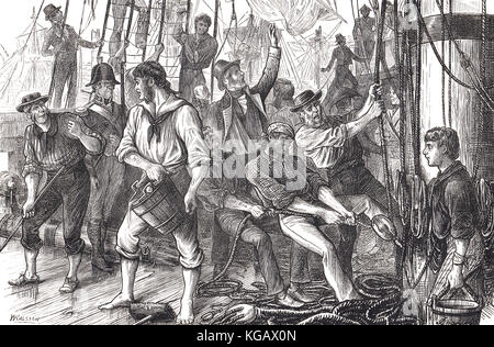 Scene on board ship, Glorious First of June, 1794, Lord Howe's victory - Stock Photo