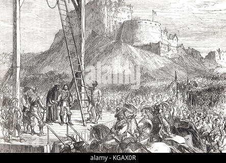 Execution of James Graham, 1st Marquess of Montrose,  21 May 1650, Edinburgh, Scotland, English Civil war - Stock Photo