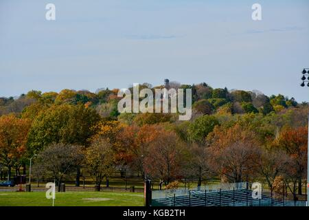 A view of the iconic and historic Mount Auburn Cemetery atop Mount Auburn in Watertown, Massachusetts as seen from - Stock Photo