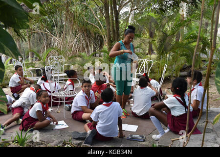 Educational outing of Cuban schoolchildren to Finca Vigía, Hemingway's house that is now a museum - Stock Photo