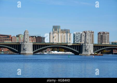 Sights around the Charles River in Boston, Massachusetts. Longfellow Bridge MIT and city skyline - Stock Photo