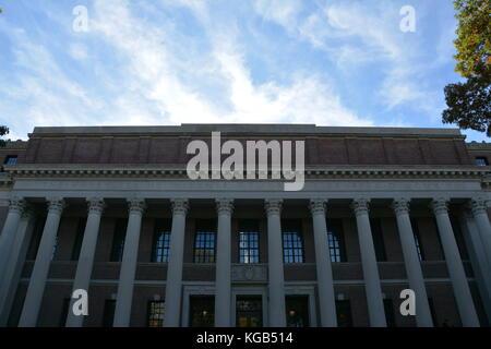 Sights around Harvard University, Harvard Square, and Harvard Yard in Cambridge, Massachusetts, USA - Stock Photo