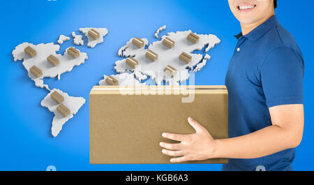 3d rendering delivery man with box on world map - Stock Photo
