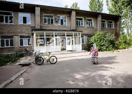 Sadak Souici / Le Pictorium -  Avdiivka -  15/08/2017  -  Ukraine / Avdiivka  -  Entrance of the main hospital of - Stock Photo