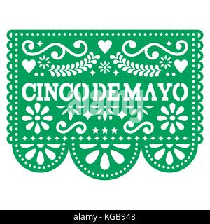 Cinco de Mayo Papel Picado vector design - Mexican paper decoration with pattern and text - Stock Photo